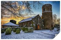 St Marys in the snow, Print