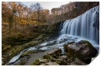 Sgwd isaf clun gwyn Welsh waterfall , Print