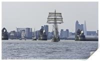 Tall Ships at Thames Barrier, Print