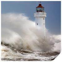 New Brighton lighthouse Facing the fury, Print