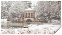Snowfall,The Roman Boathouse ,Birkenhead park, Print