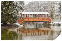 Snowfall, Swiss Bridge,Birkenhead Park, Print