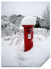 Snow Topped Post Box, Print
