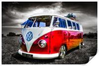 Red split screen VW camper van, Print