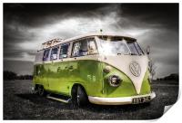 Green split screen VW camper van, Print