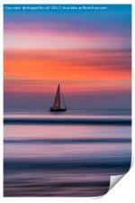 Yacht Sailing At Sunset, Print