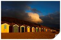 Saunton Sands Beach Huts, Barnstable., Print