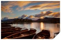 Moored Boats Derwent Water, Lake District., Print