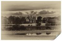 Seaton Delaval Hall in sepia, Print