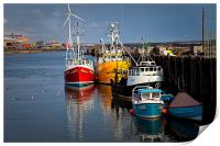 Fishing boats in harbour, Print
