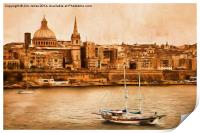 Valletta Malta in the style of Georgia O'Keefe, Print