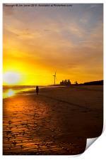 Early morning stroll along the beach, Print