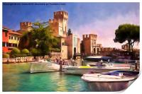 Sirmione Scaliger Castle with artistic filter, Print