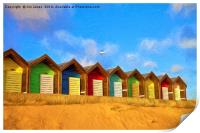 Beach Huts with artistic filter, Print