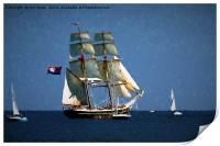 Painterly Sailing Ship, Print
