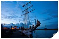 Safely berthed for the night, Print