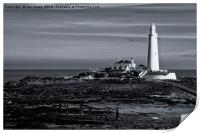 St Mary's Island in mono, Print