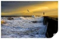 Stormy weather at Tynemouth, Print
