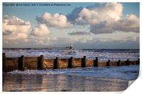 Sunny morning and stormy sea, Print