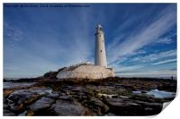 St Mary's Island and lighthouse (Landscape view), Print