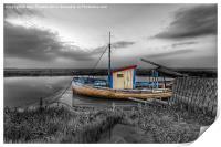 Fishing boat at Thornham in Norfolk, Print