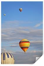Balloons drifting blue cloudy sky, Print