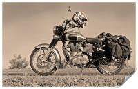 Touring Motor cycle parked on Roadside, Print