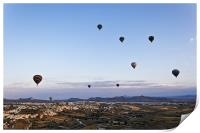 Cappadocia landscape filled with hot air balloons, Print