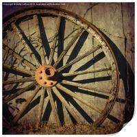 Old West Wagon Wheel, Print
