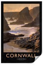 Cornwall Railway Poster, Print