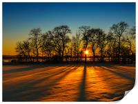Sunset on snow Kinross, Print