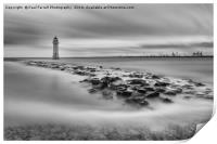 High tide at Perch Rock lighthouse in New Brighton, Print