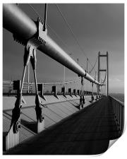 Humber Bridge Sunset In Black & White, Print