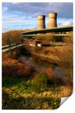 Tinsley Cooling Tower, M1 & River Don, Print