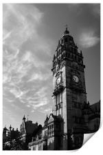 Sheffield Town Hall in Mono, Print