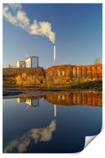 Incinerator Reflections in River Don, Print