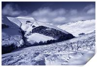 Snow covered Valley,Grindsbrook near Edale, Print