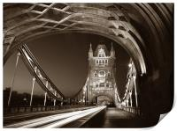 Tower Bridge London at Night, Sepia Toned