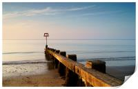 High Tide Marker & Groynes, Swanage Bay, Print