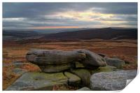 Over Owler Tor Sunset From Carl Wark, Print