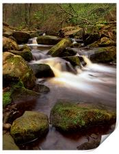 Falls & Rocks in Padley Gorge, Print