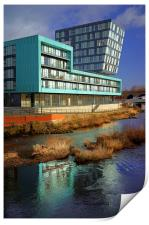 Modern Apartment Buildings next to River Don, Print