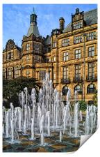 Sheffield Town Hall and Goodwin Fountain , Print