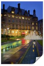 Sheffield Town Hall and Goodwin Fountain at Night , Print