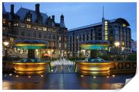 Sheffield Town Hall and Peace Gardens at Night , Print