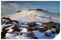 Carl Wark and Higger Tor in Winter , Print