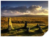 Merrivale Stone Rows Sunset , Print