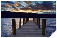 Windermere Boat Jetty Sunset                      , Print