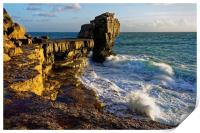 Pulpit Rock and stormy seas                       , Print