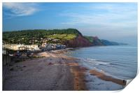 Sidmouth Seafront and Beach                     , Print